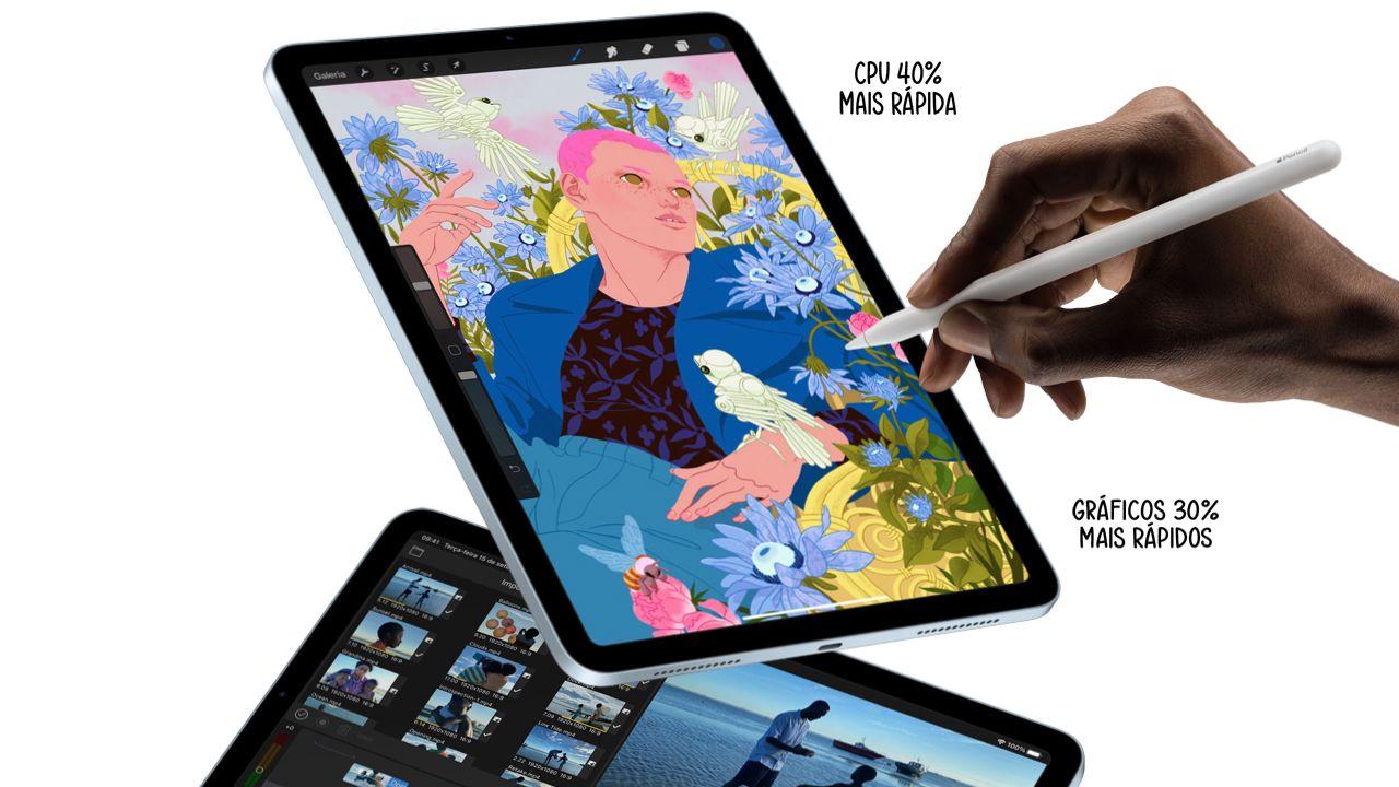 O iPad Air 4 é até 40% mais potente que a geração anterior. (Foto: Divulgação/Apple)