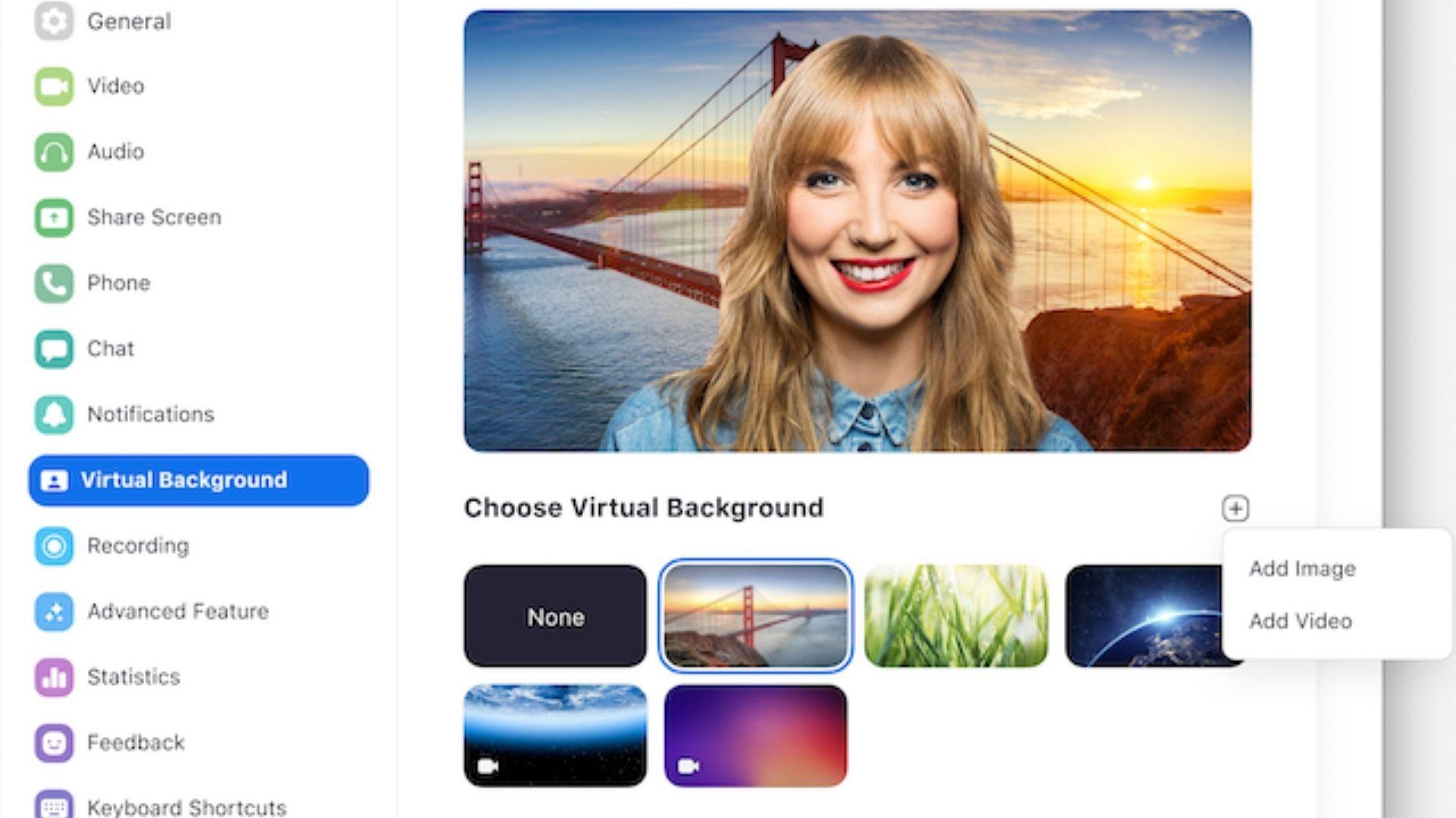 Você pode mudar o fundo da sua videoconferência no Zoom Meetings (Foto: Zoom Meetings)
