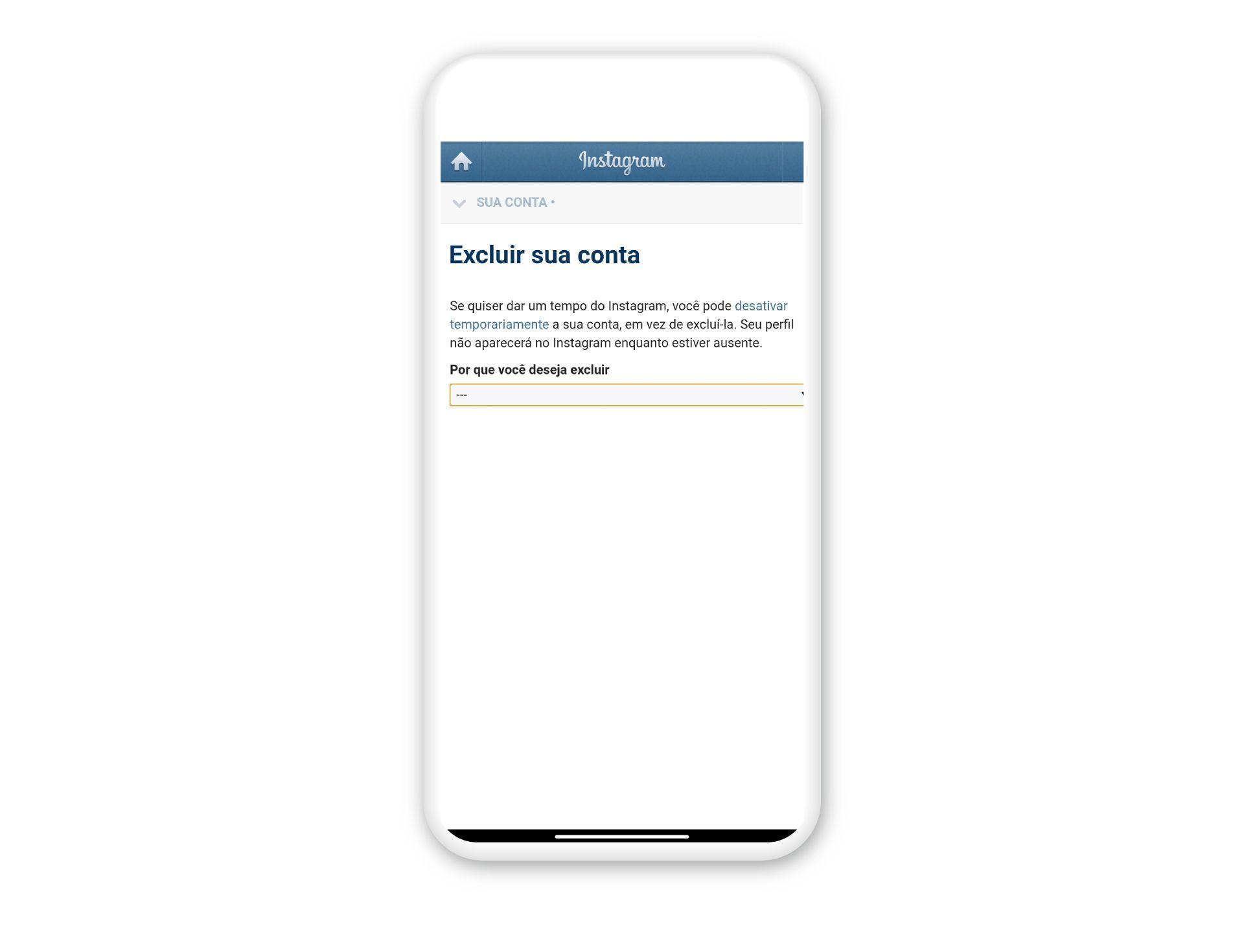 Como excluir Instagram: acesse o site pelo navegador do celular (Foto: Arte / Zoom)