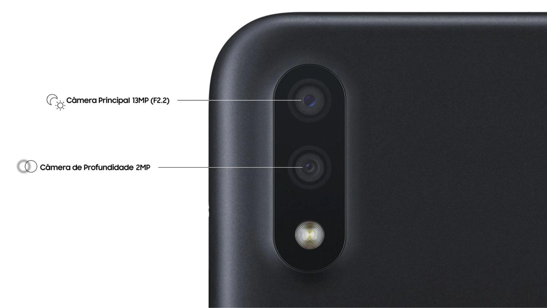 Galaxy A01 tem câmera traseira dupla (Foto: Divulgação/Samsung)