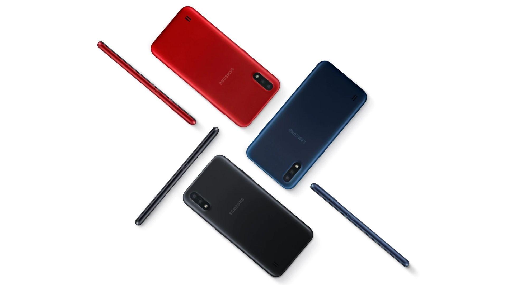 Samsung Galaxy A01 está disponível em três cores (Foto: Divulgação/Samsung)