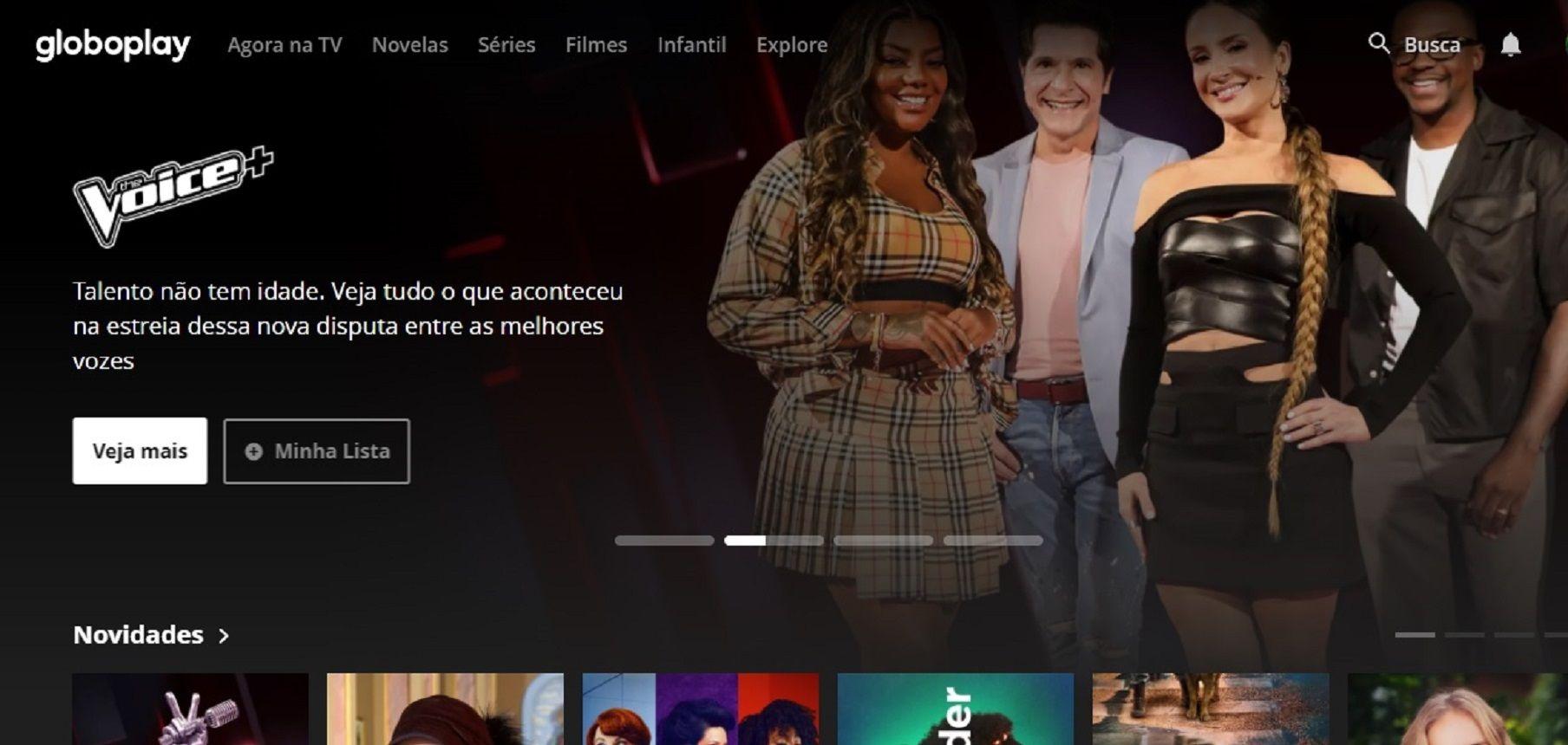 Captura de tela da página inicial do Globoplay