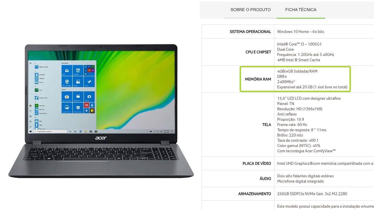 Ao verificar a ficha técnica de um notebook no site da fabricante ou loja, confira o tipo de memória RAM e se é possível expandi-la (Reprodução: Acer)