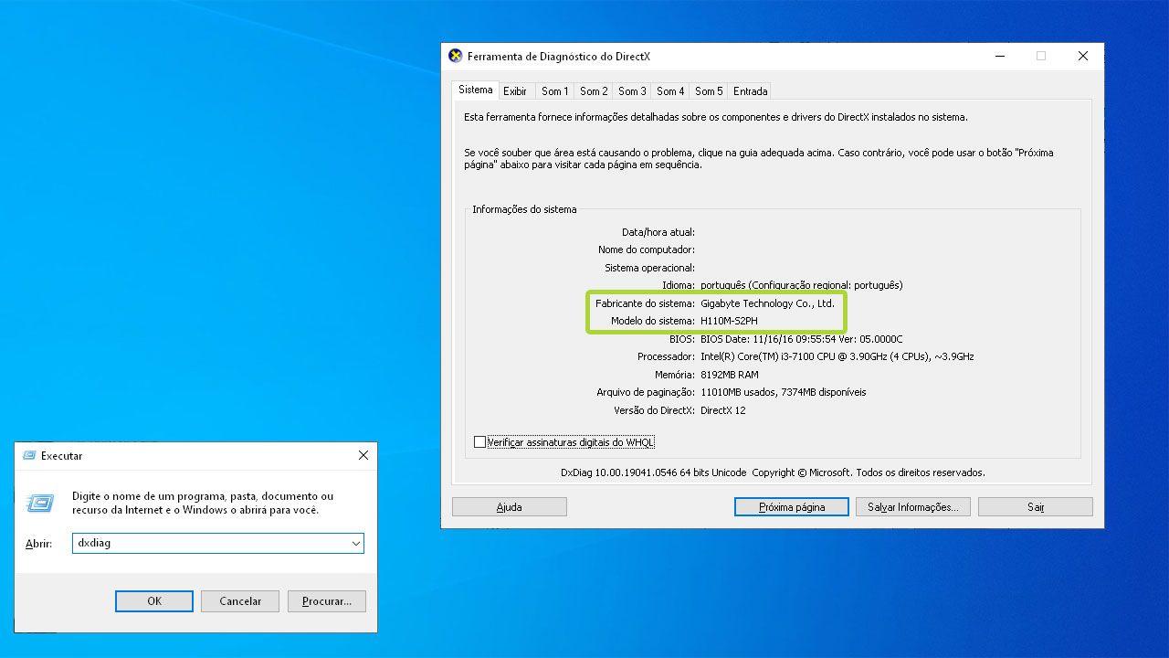 """No Windows, o usuário pode checar qual sua placa-mãe com a função """"DXDiag"""" (Reprodução: Zoom)"""