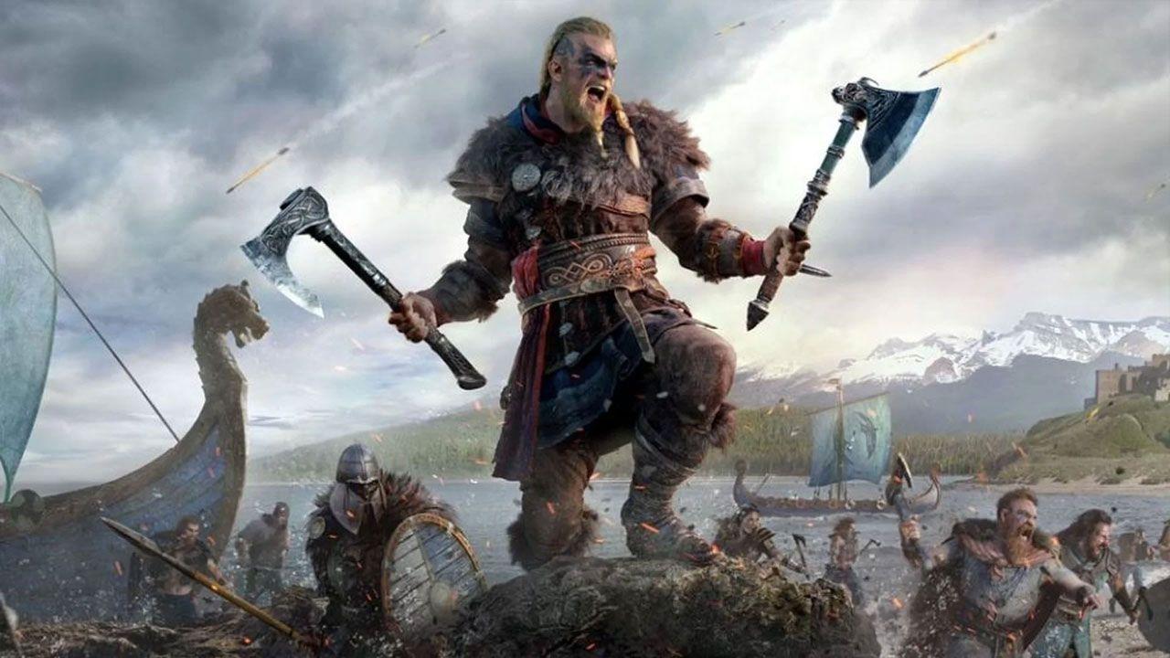 Ilustração de Assassin's Creed: Valhalla, mostrando vikings entrando em batalha com a versão masculina de Eivor no centro gritando em direção à luta