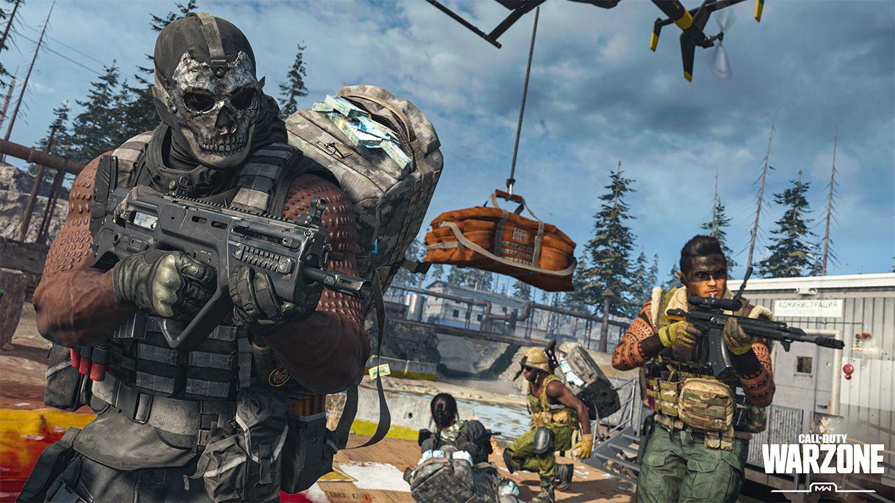 Ilustração de Call of Duty Warzone mostrando soldados combatendo em base militar