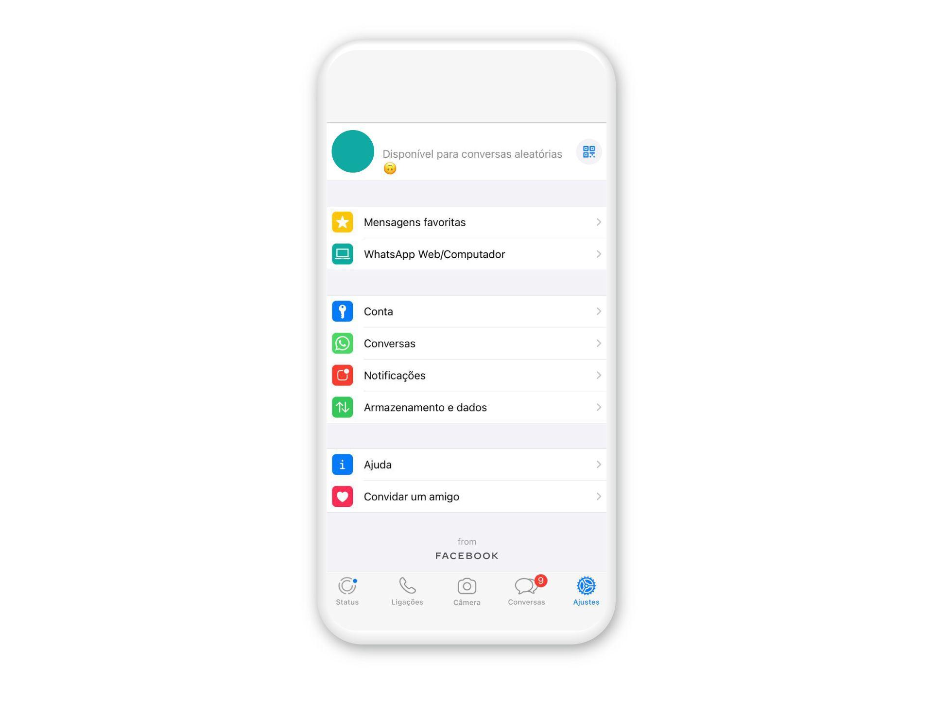 Acesse os ajustes do WhatsApp no seu iPhone (Fonte: Reprodução/Zoom)