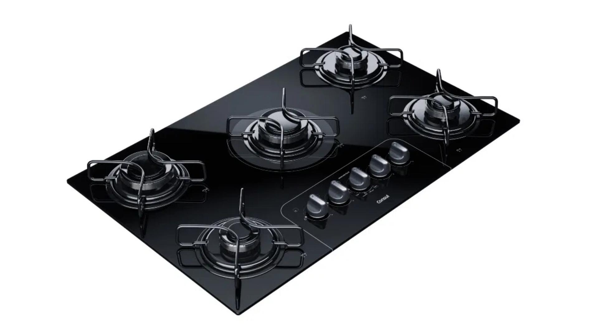Os cooktops à gás funcionam como os fogões tradicionais, porém não dispõem de forno. (Imagem: Divulgação/Consul)