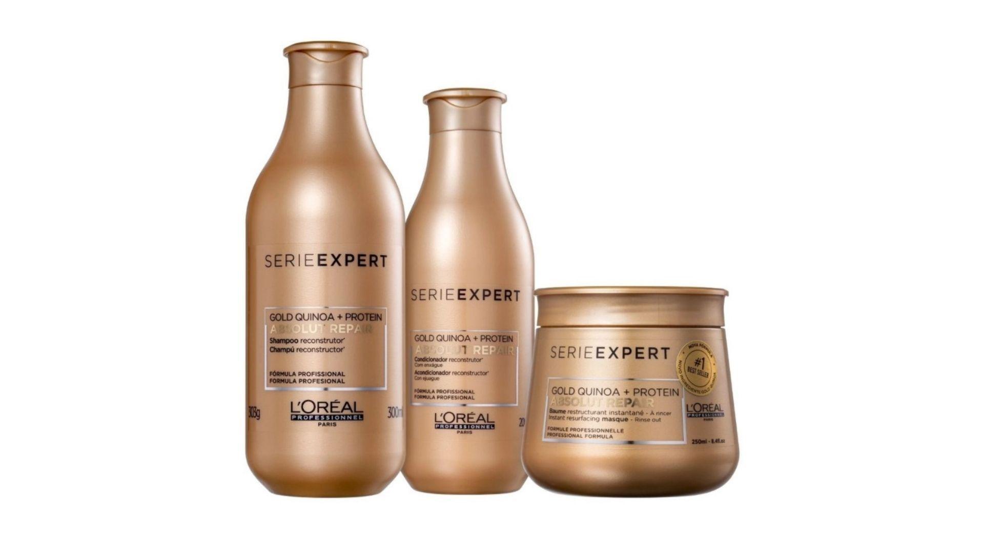 Para os loiros, platinados ou com química, a linha Absolut Repair da Série Expert de L'Oréal Professionel é a mais indicada por Alê Crema (Foto: Reprodução, L'Oréal)