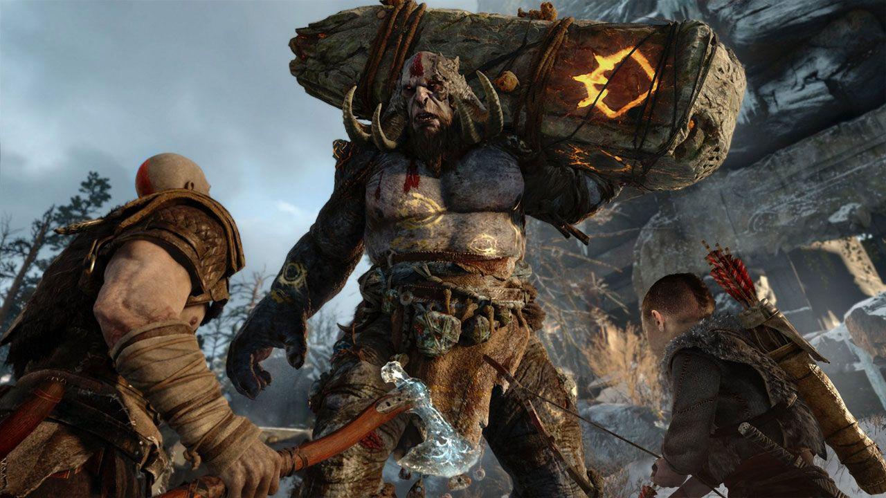 Ilustração do jogo God of War mostrando o protagonista e seu filho encarando um gigante carregando um grande pedaço de pedra