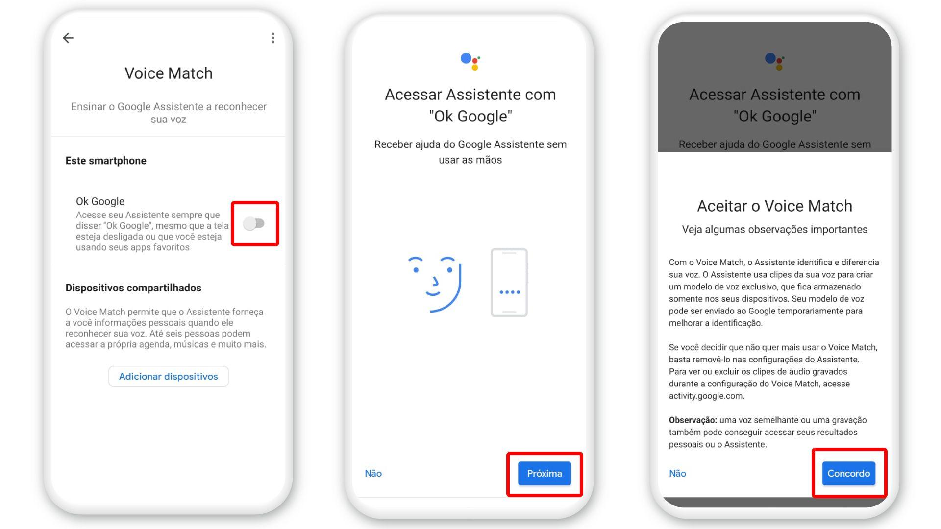 """Ativar """"Ok Google"""": toque no botão correspondente (Foto: Arte/Zoom)"""