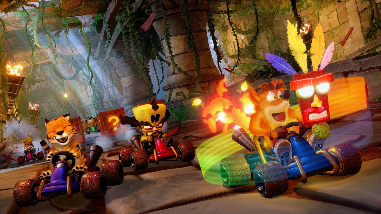Crash e seus amigos saem para correr de kart assim como a turma de um certo encanador (Reprodução: PlayStation)