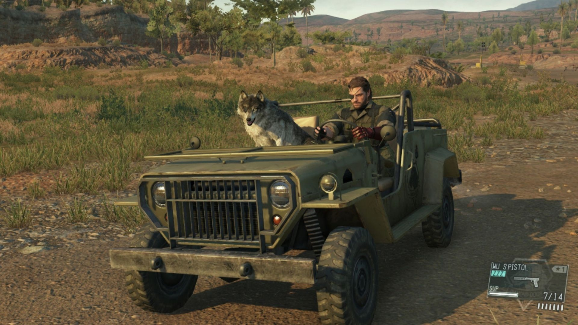 Ilustração de Metal Gear Solid V: The Phantom Pain mostrando Snake e seu lobo andando de jupe em cenário de savana