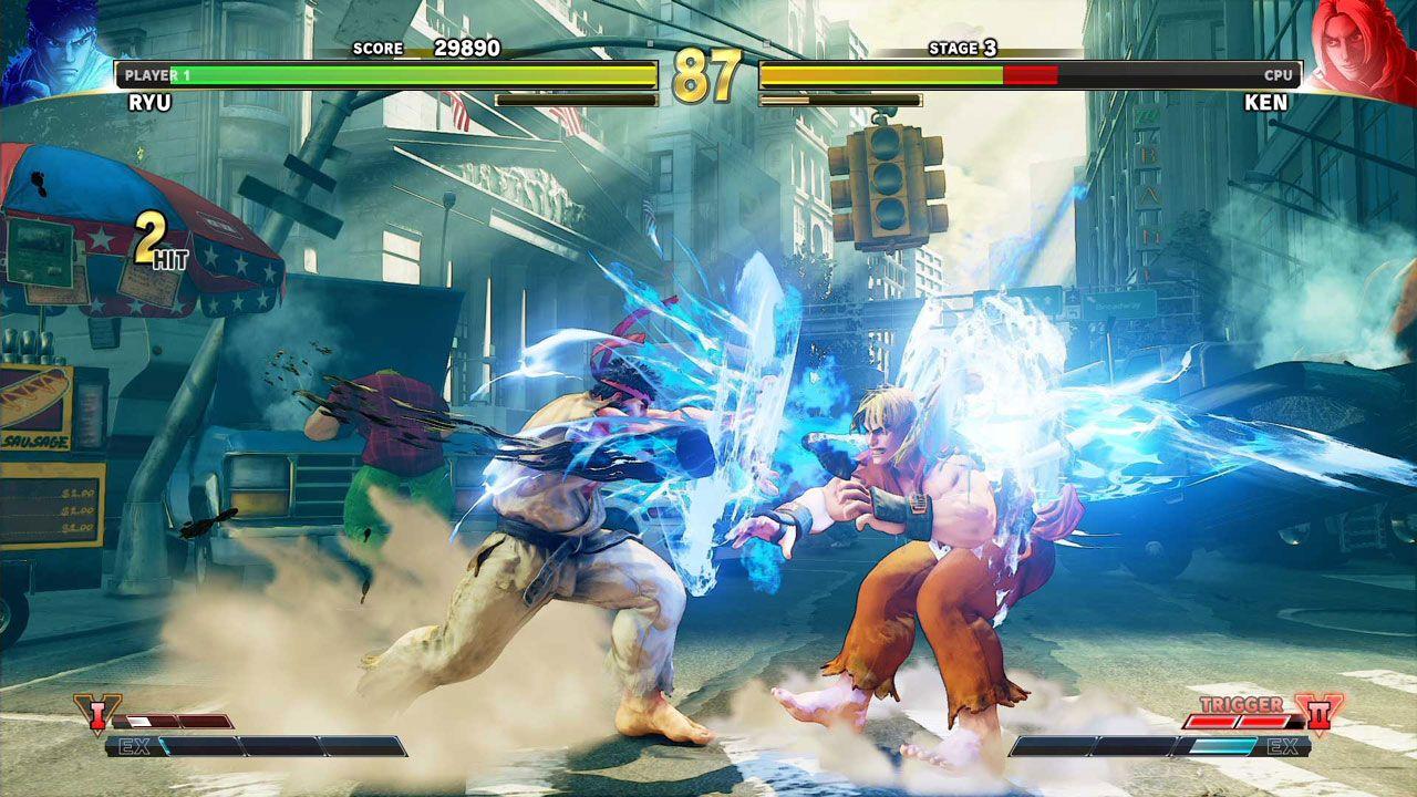 Partida de Street FIghter V, mostrando Ryu acertando um Hadouken em Ken