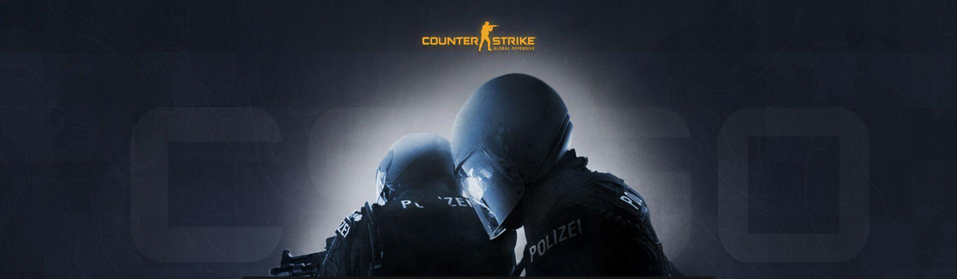 Ilustração promocional de CS:GO com soldados de capacete e a logo na parte superior