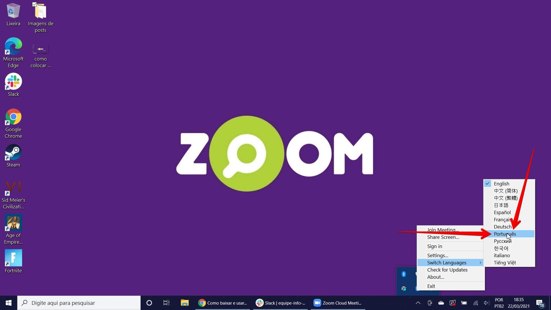 Veja como colocar o Zoom em português é fácil. Dá para fazer direto da área de trabalho do Windows! (Fonte: Filipe Salles/Reprodução)