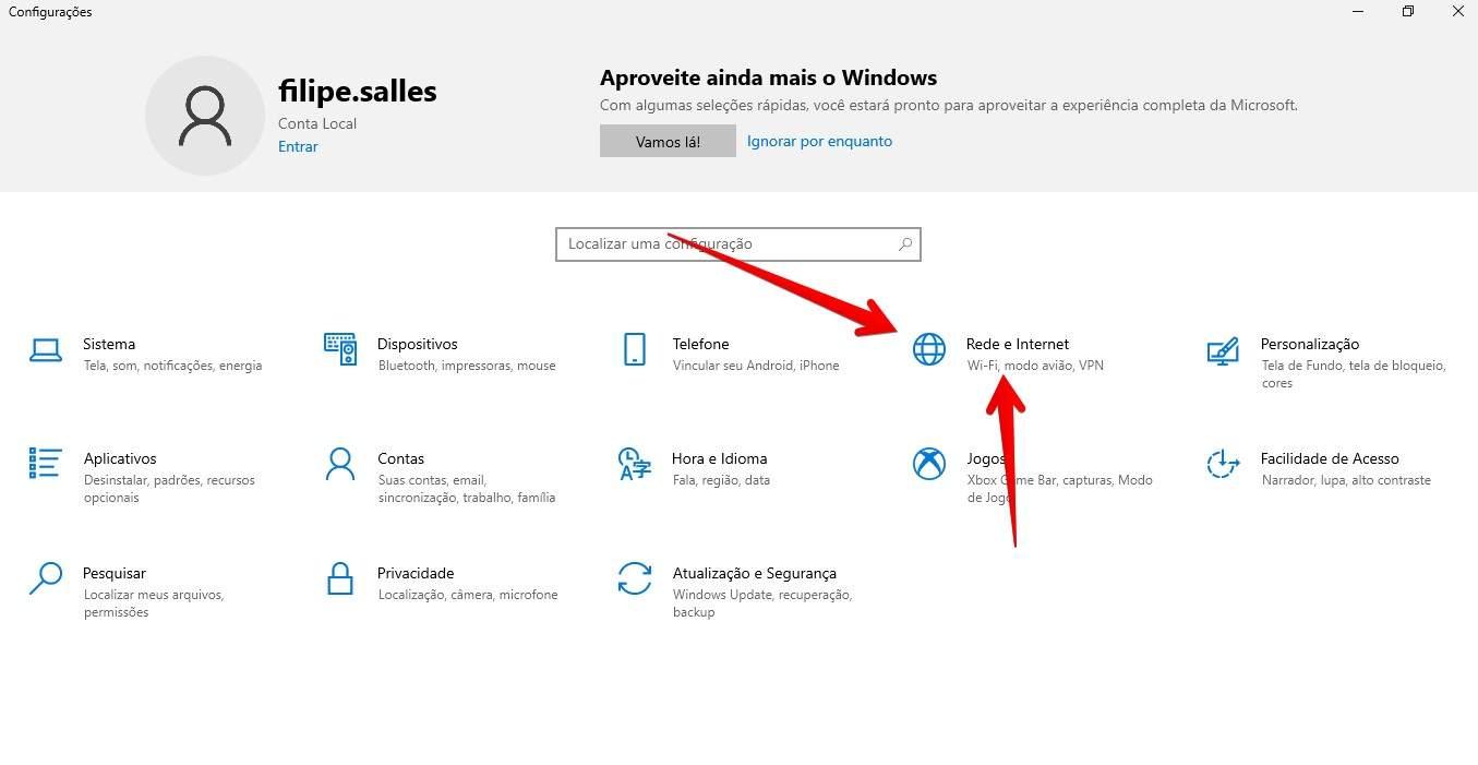 Acesse as configurações de Rede e Internet do Windows (Fonte: Reprodução)