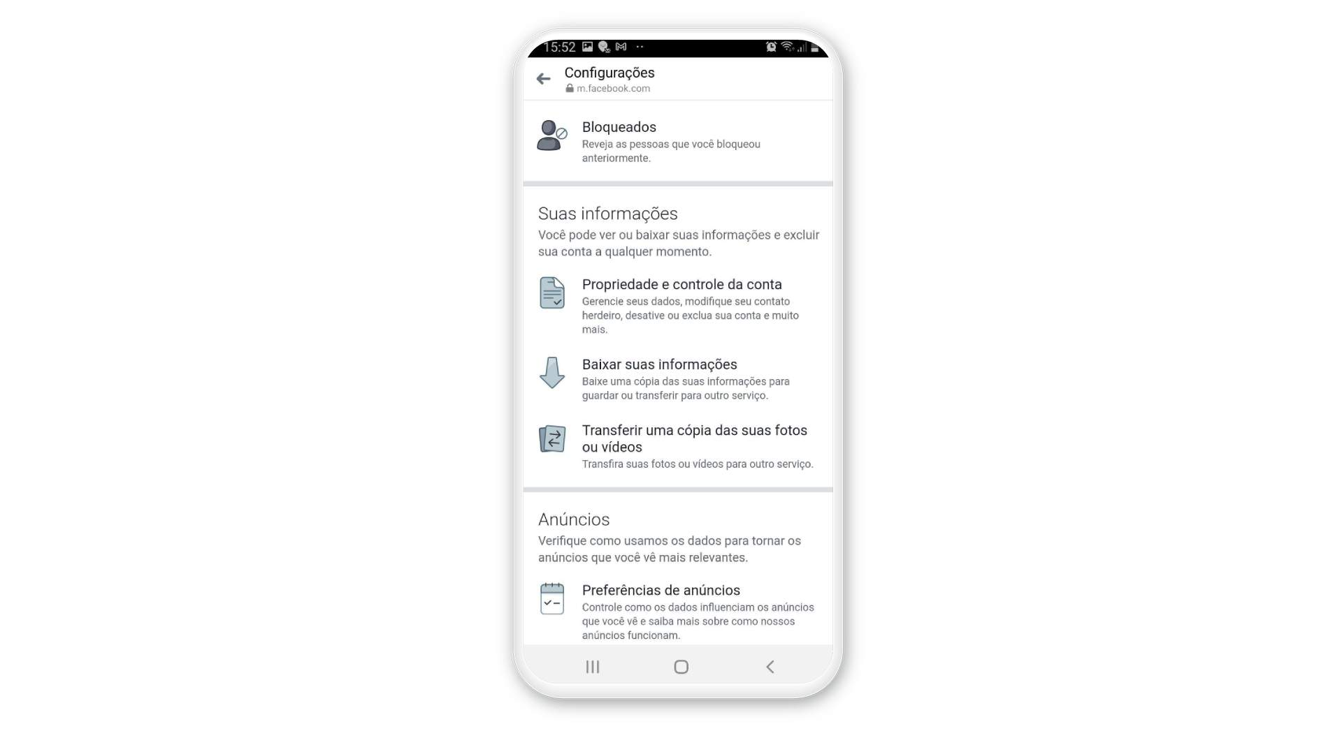Toque em Baixar suas Informações para ter como recuperar mensagens apagadas do Messenger no celular (Fonte: Messenger/Reprodução)