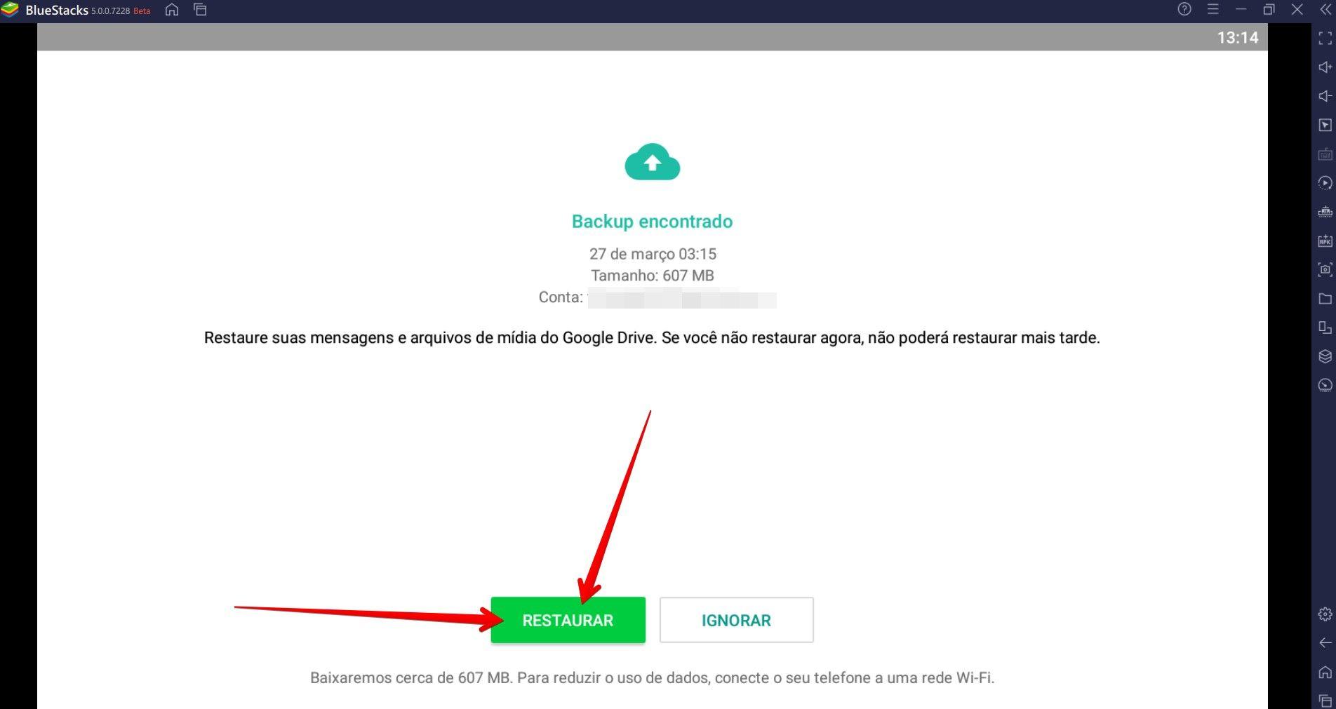 Restaure o último backup que fez do WhatsApp para acessar suas conversas antigas (Fonet: Reprodução/Filipe Salles