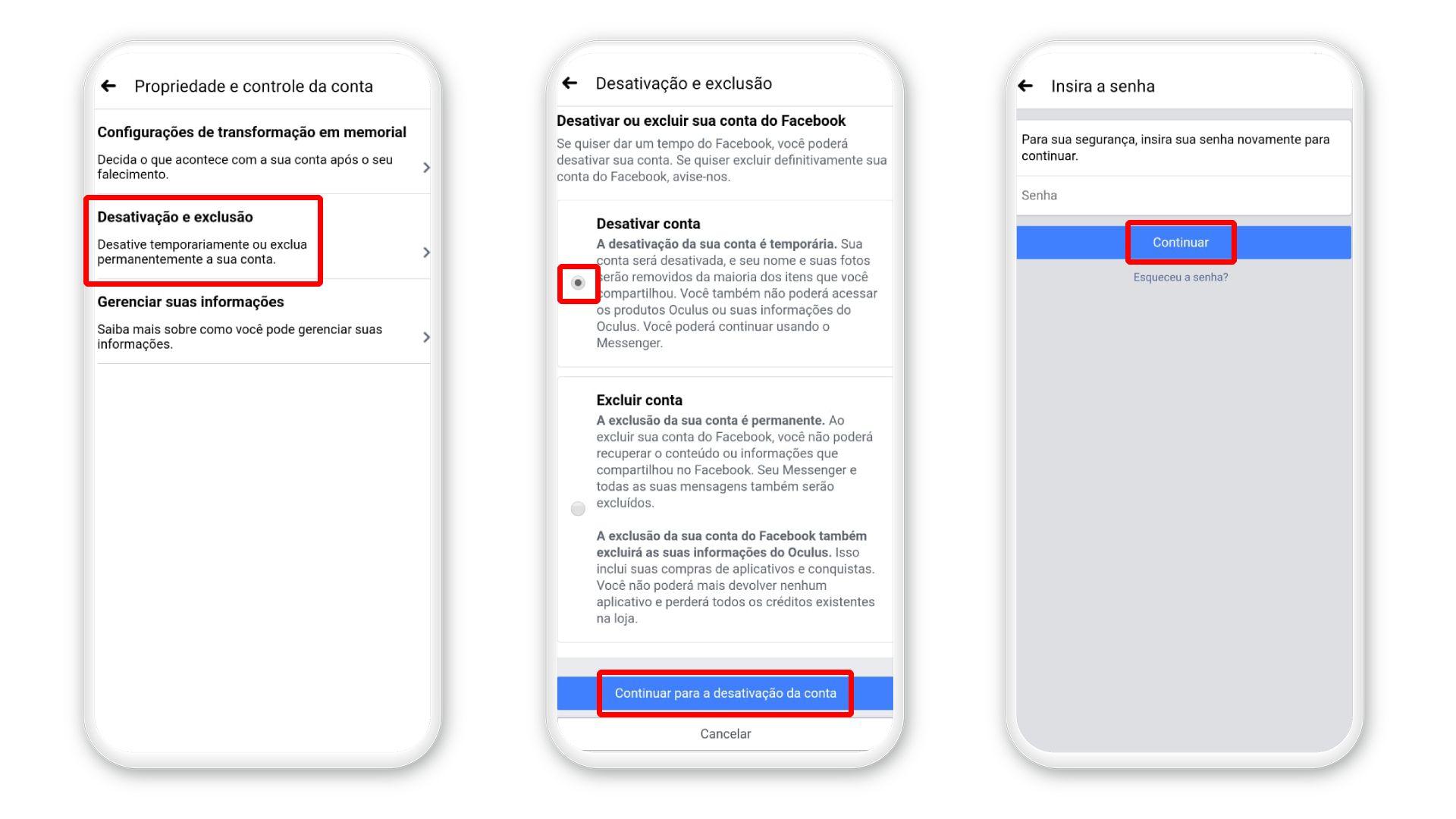 Ação para desativar Facebook pelo celular (Foto: Arte/Zoom)