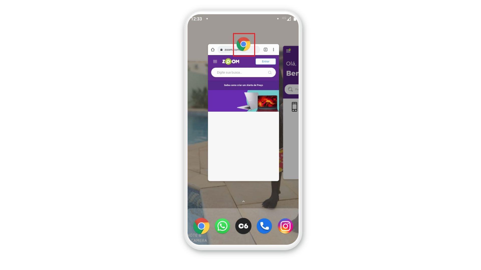 Como dividir a tela do celular: clique no ícone do aplicativo. (Foto: Arte/Zoom)