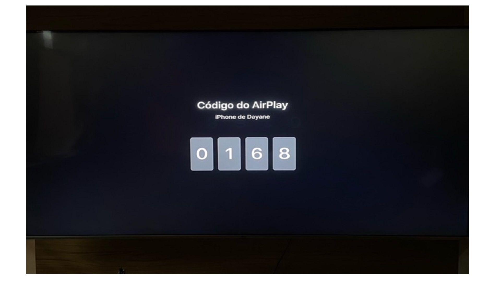 Digite o código do AirPlay no seu iPhone (Imagem: Arquivo Pessoal/Dayane Barbosa)