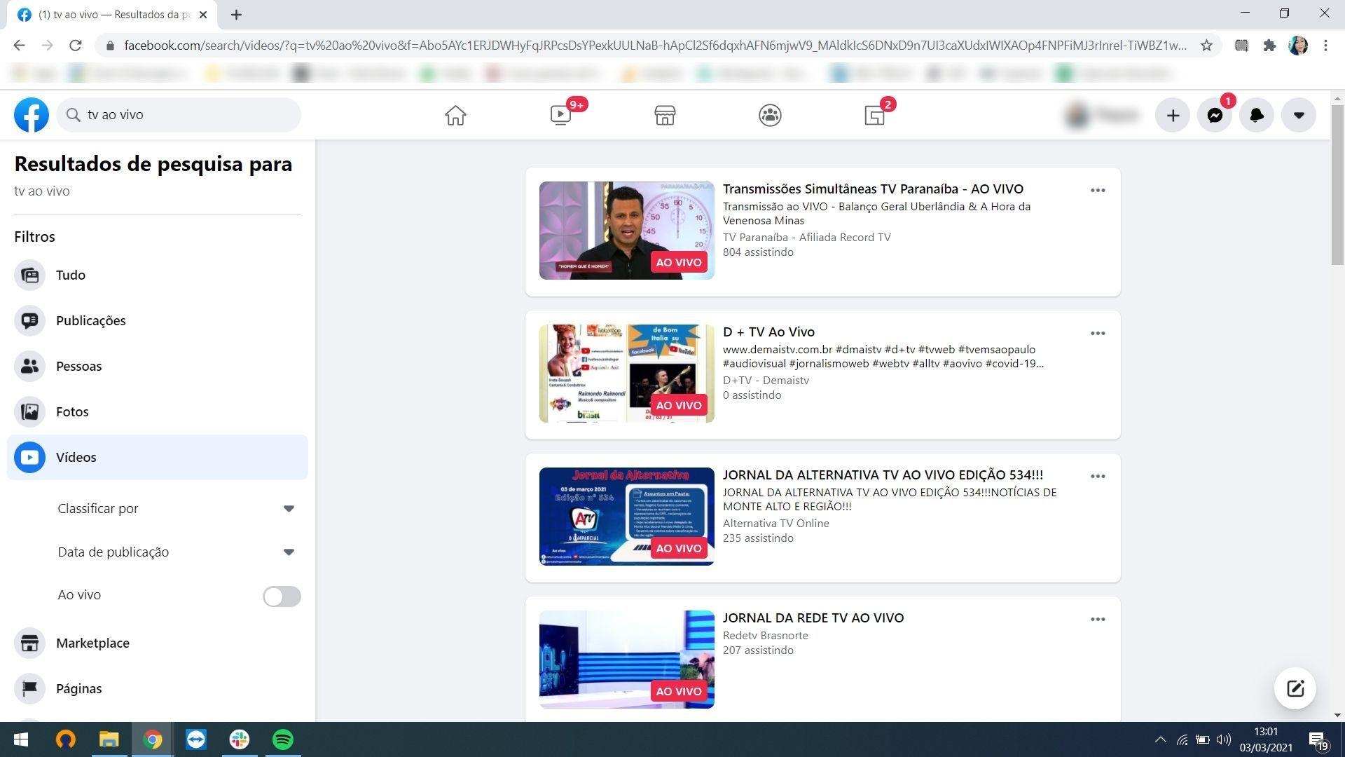 Facebook tem grande variedade de conteúdo de TV, inclusive ao vivo (Foto: Reprodução/Thayna Cruz)