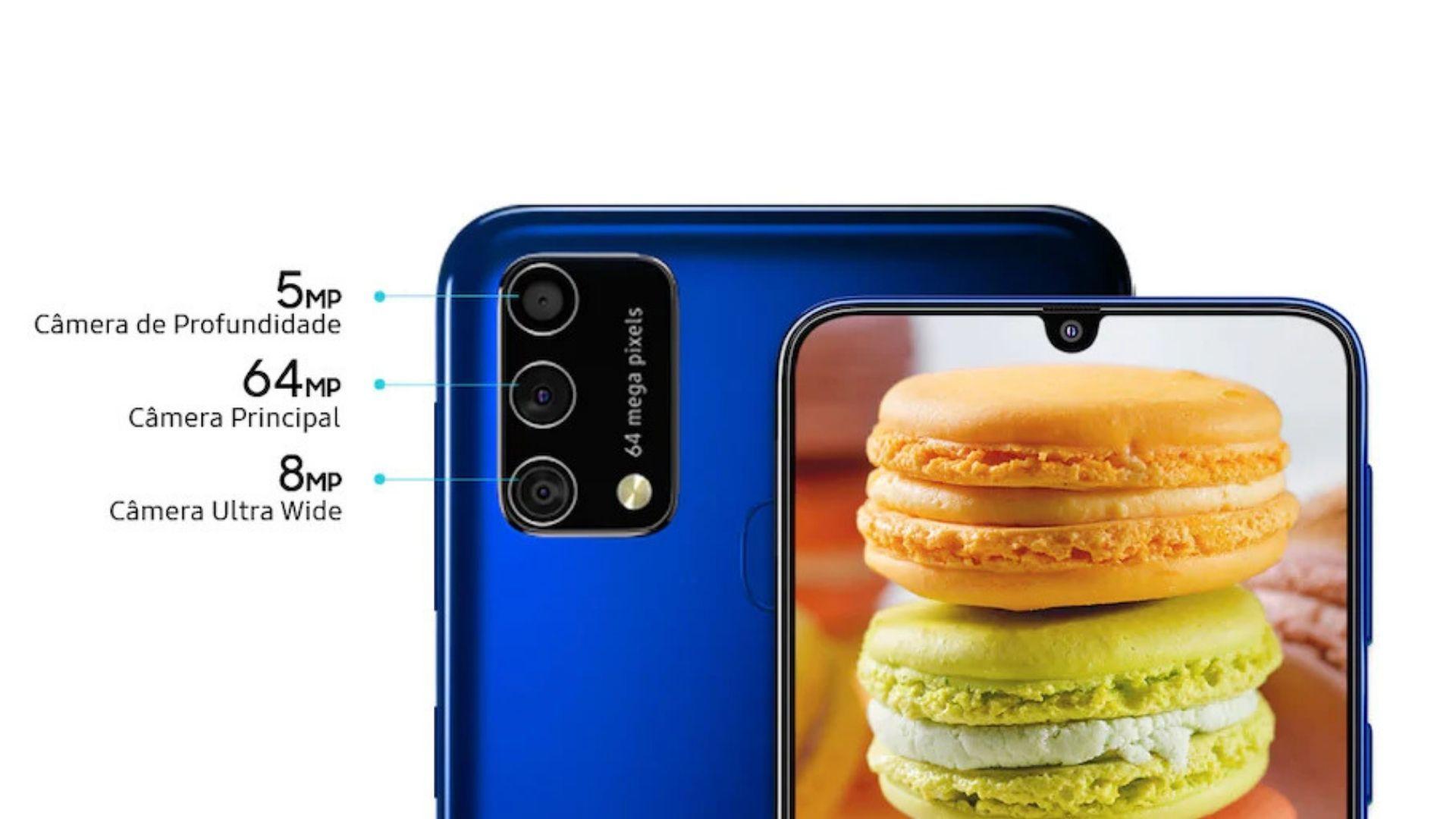 O M21s tem conjunto triplo de câmeras (Imagem: Divulgação/Samsung)