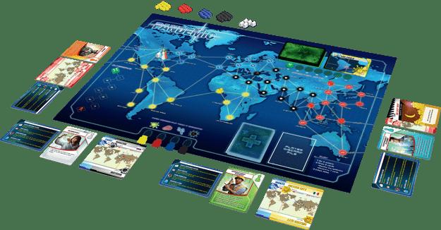Um tabuleiro completo de Pandemic, onde os jogadores devem derrotar epidemias mortais que estão assolando o mundo (Fonte: Z-Man Games/Divulgação)