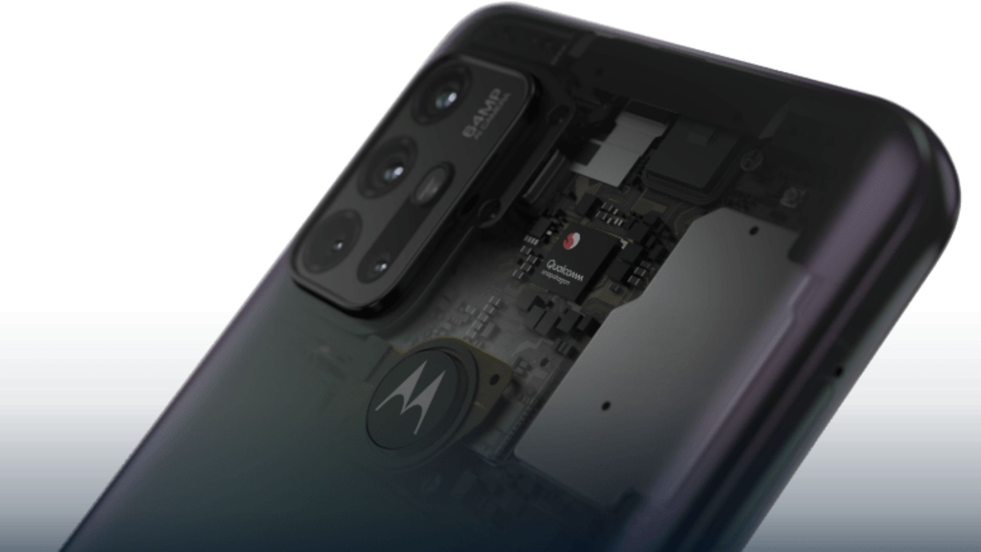 Ilustração mostrando a parte interna do Moto G30 com processador Snapdragon