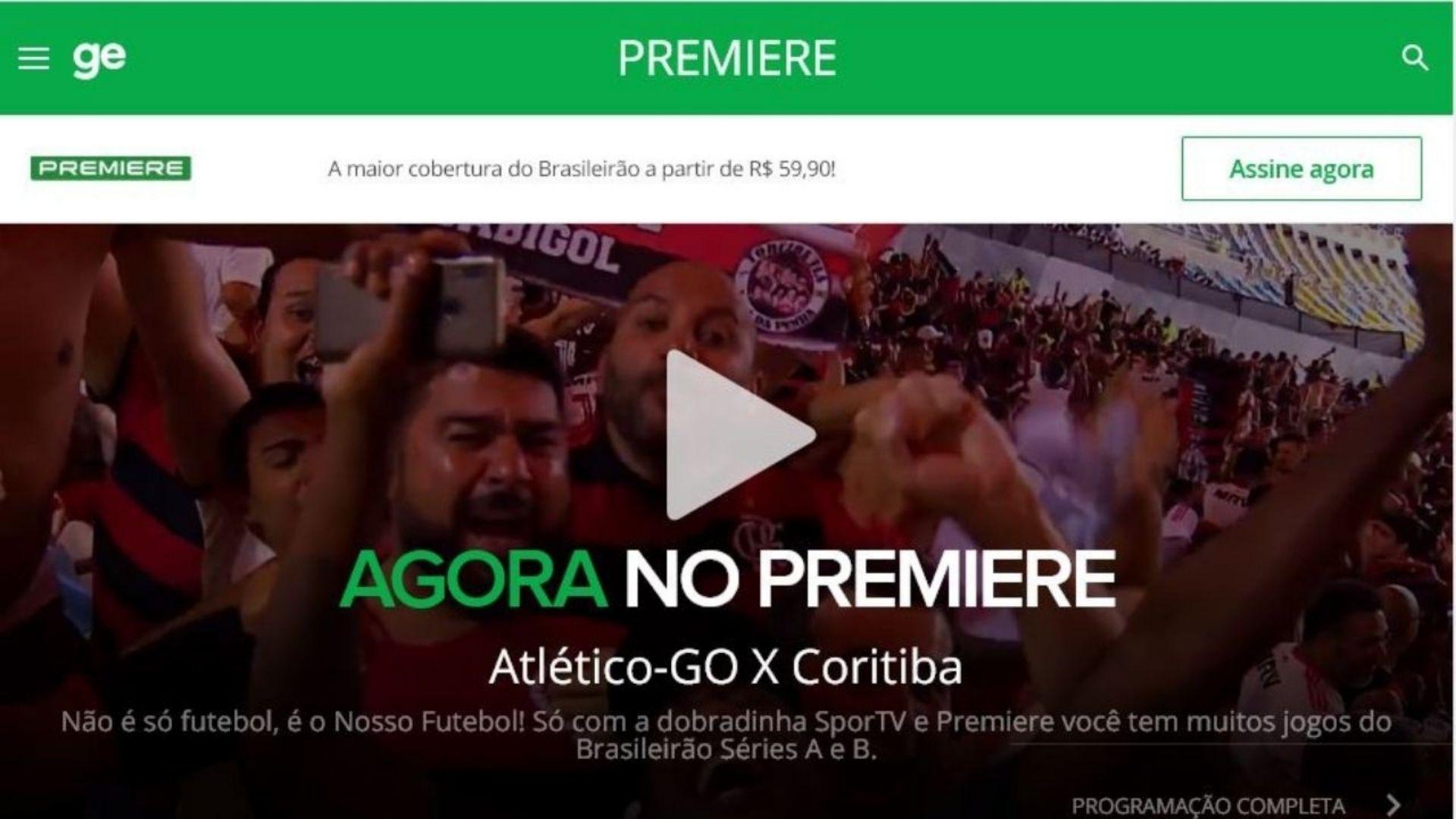 Tela inicial do Premiere Play: futebol online ao vivo no computador (Foto: Reprodução/Jarbas Soares)