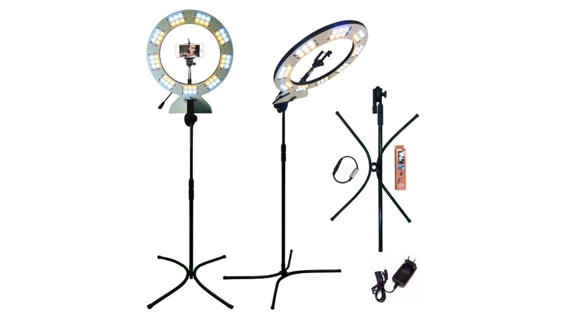 Ring light com tripé permite gravar em vários ânculos (Foto: Divulgação/Requinte Arte)