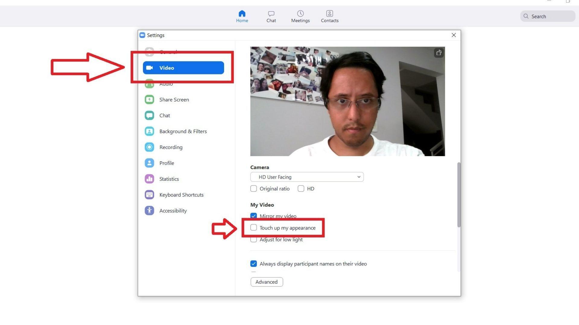 """O botão """"Touch up my appearance"""" deve estar desativado por padrão. Clique nele! (Reprodução: Guilherme Toscano)"""
