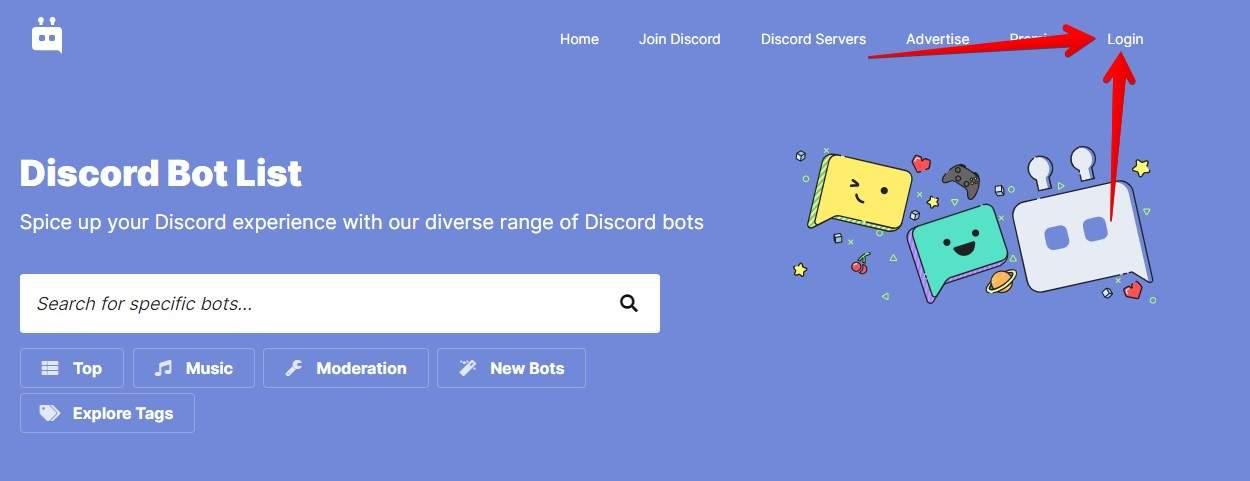 Faça login no seu app antes de adicionar bots para Discord em seu servidor (Fonte: Reprodução/Top GG)