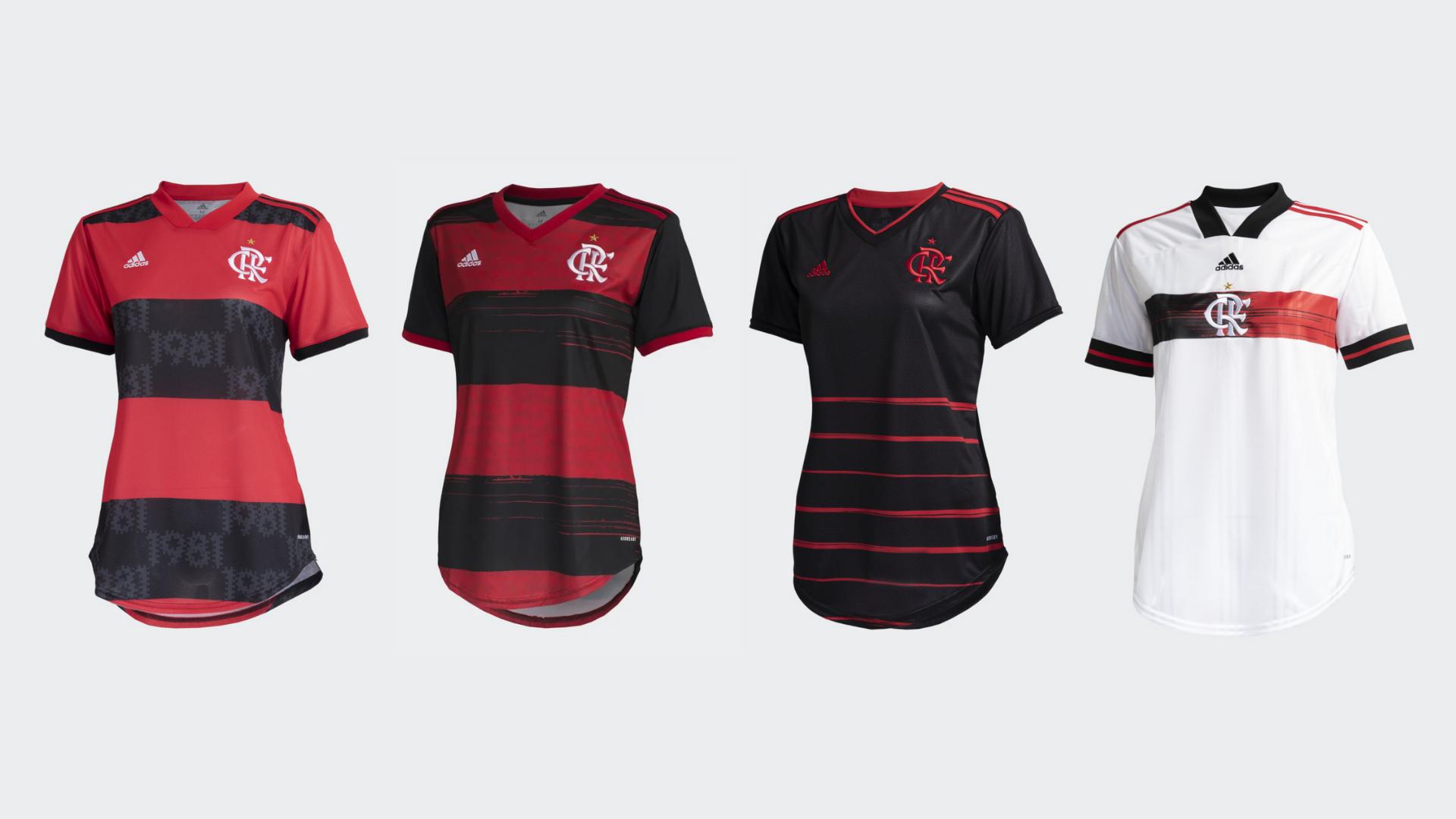 Camisa do Flamengo Feminina 2021 e 2020 Adidas (Imagem: Divulgação/Adidas)