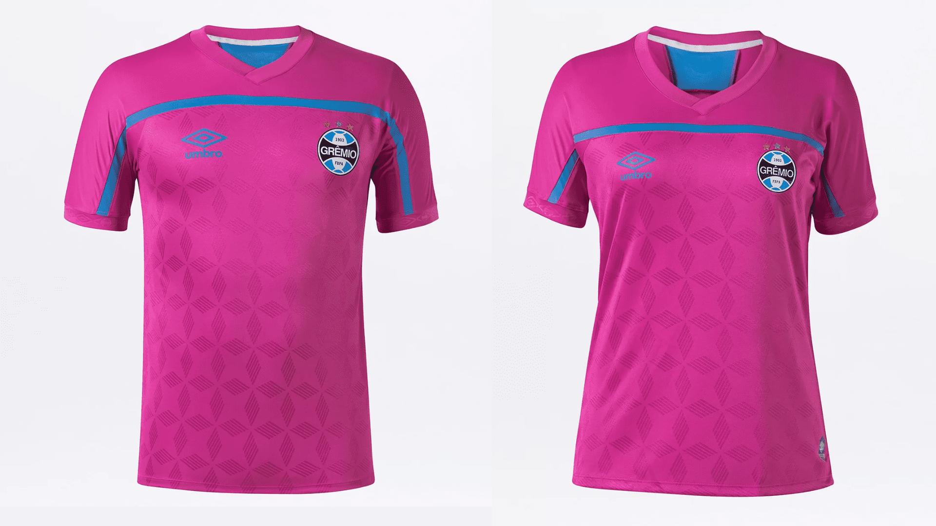 Camisa do Grêmio 2020 Umbro Outubro Rosa (Imagem: Divulgação/Umbro)
