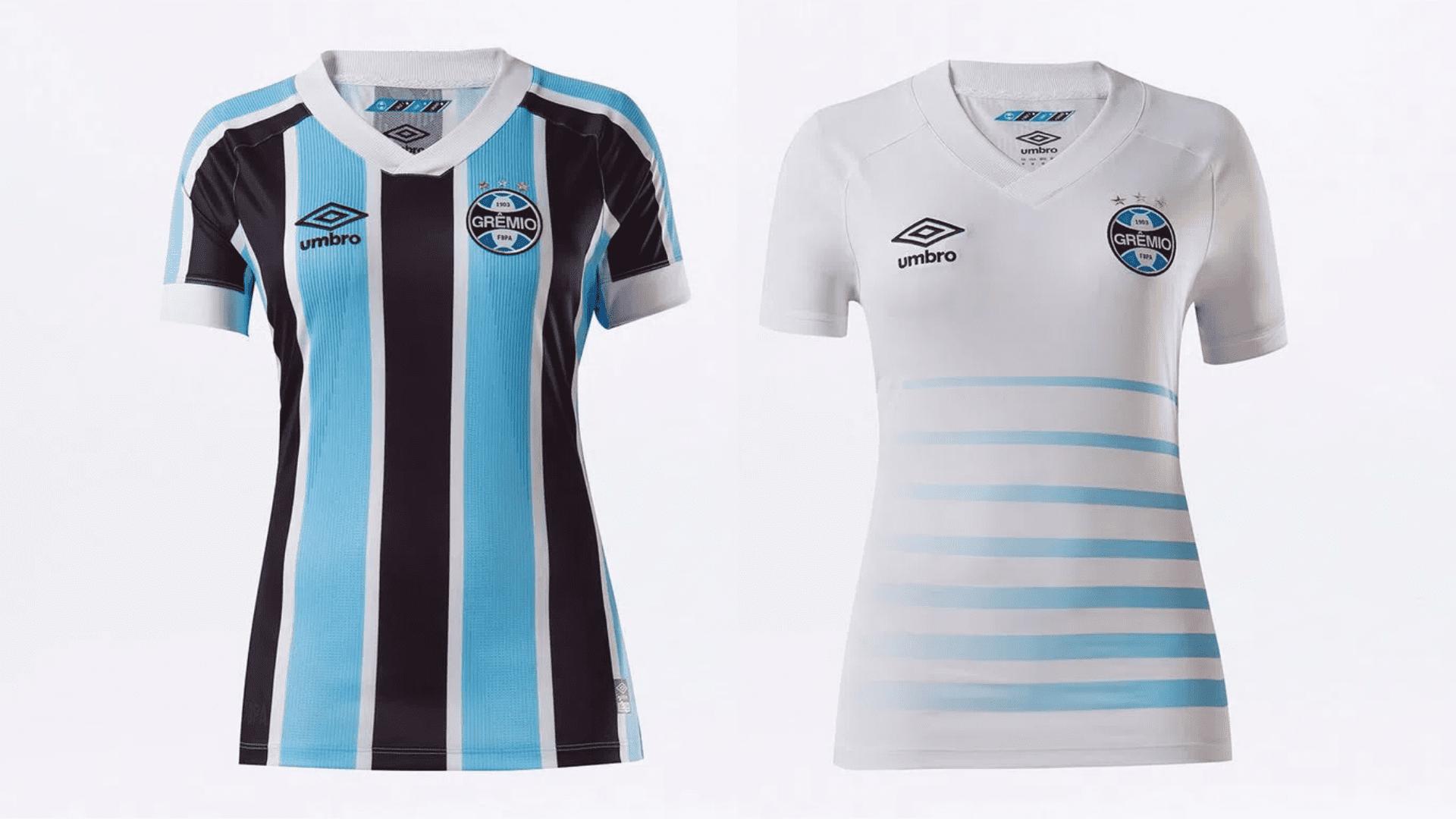Camisa do Grêmio Feminina 2021 Umbro Jogo 1 e 2 (Imagem: Divulgação/Umbro)
