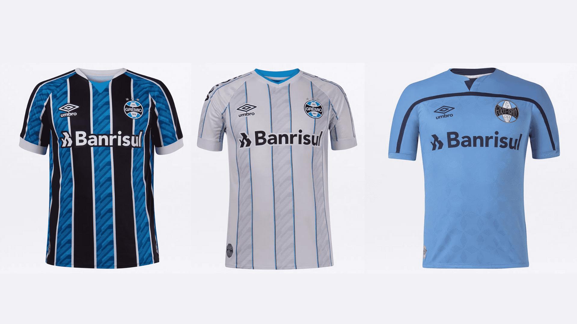 Camisa do Grêmio 2020 Umbro Jogo 1, 2 e 3 (Imagem: Divulgação/Umbro)