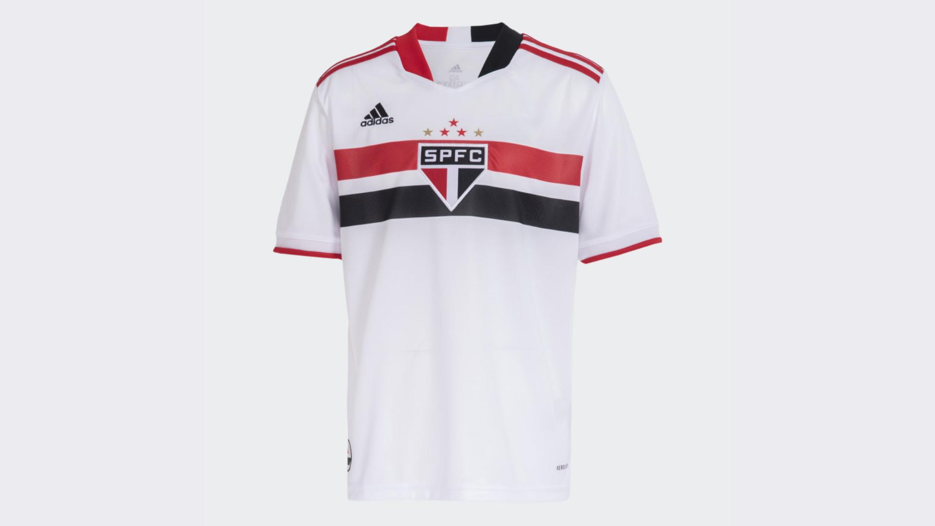 Camisa do São Paulo Infantil 2021 Adidas Jogo 1 (Imagem: Divulgação/Adidas)
