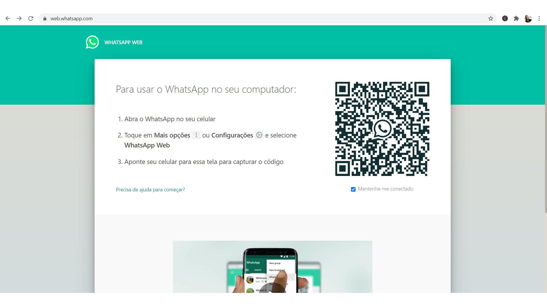 Como instalar o WhatsApp no notebook: versão web roda no navegador (Foto: Reprodução/Zoom)