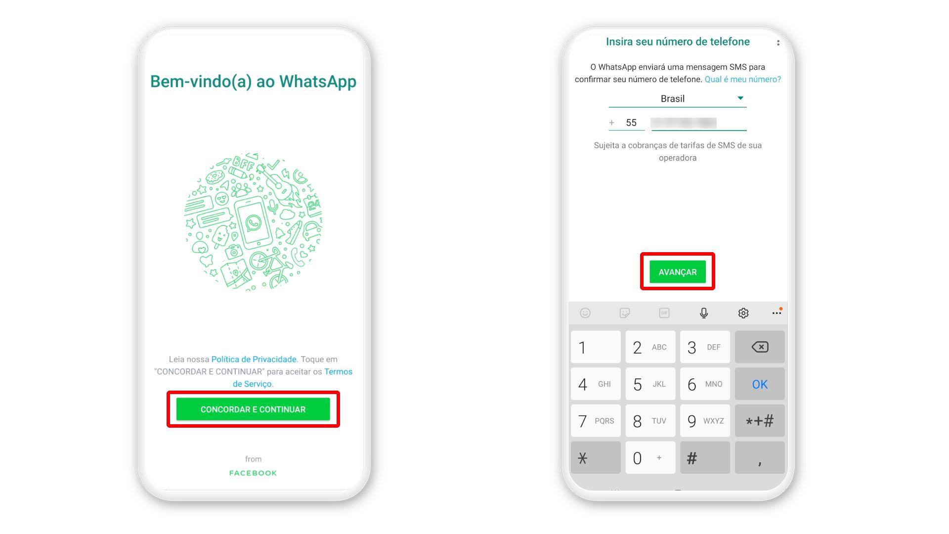 Como instalar o WhatsApp: após o download, é preciso configurar sua conta (Foto: Arte/Zoom)