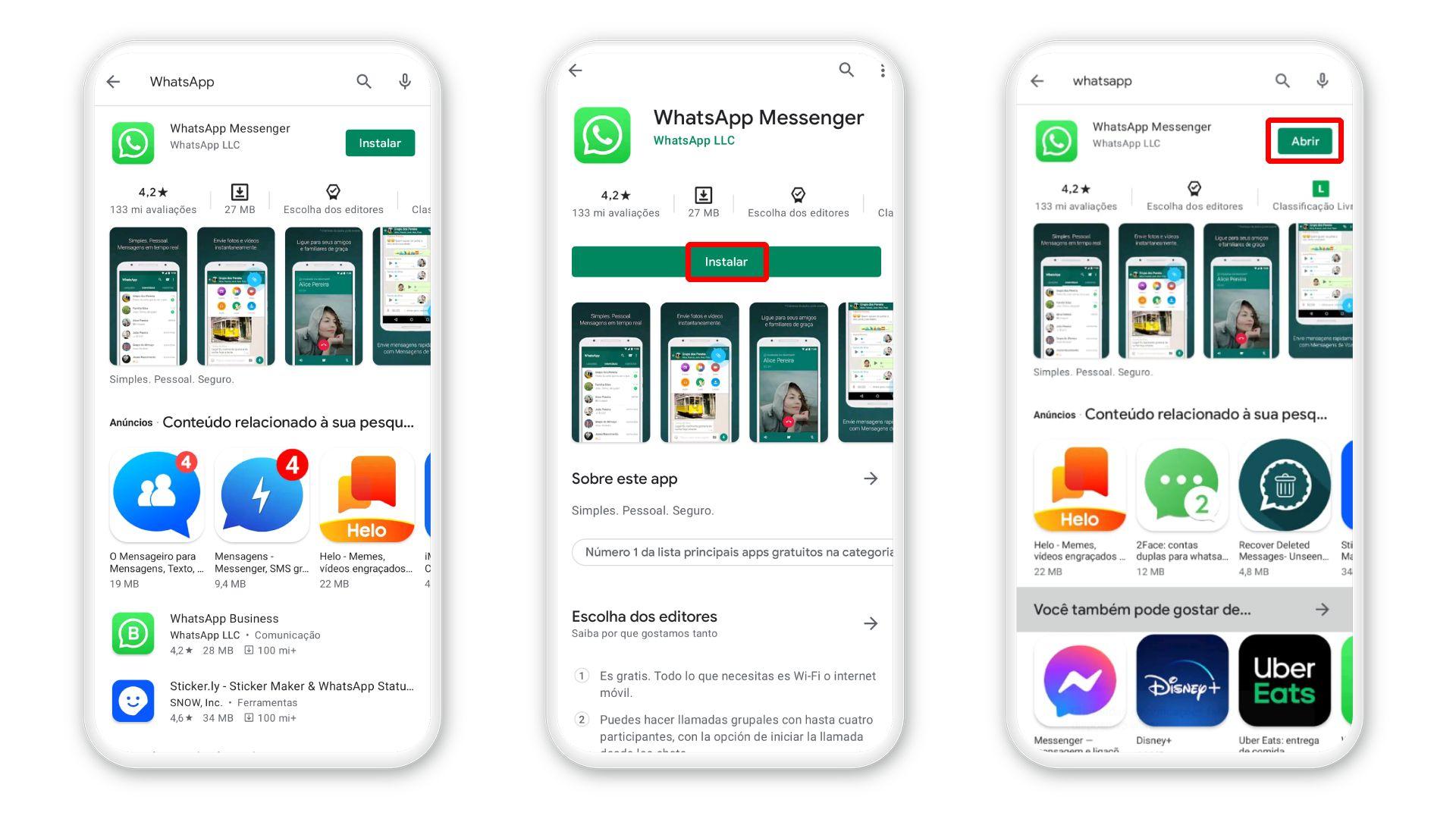 Como instalar o WhatsApp: download para iPhone deve ser feito na Play Store (Foto: Arte/Zoom)