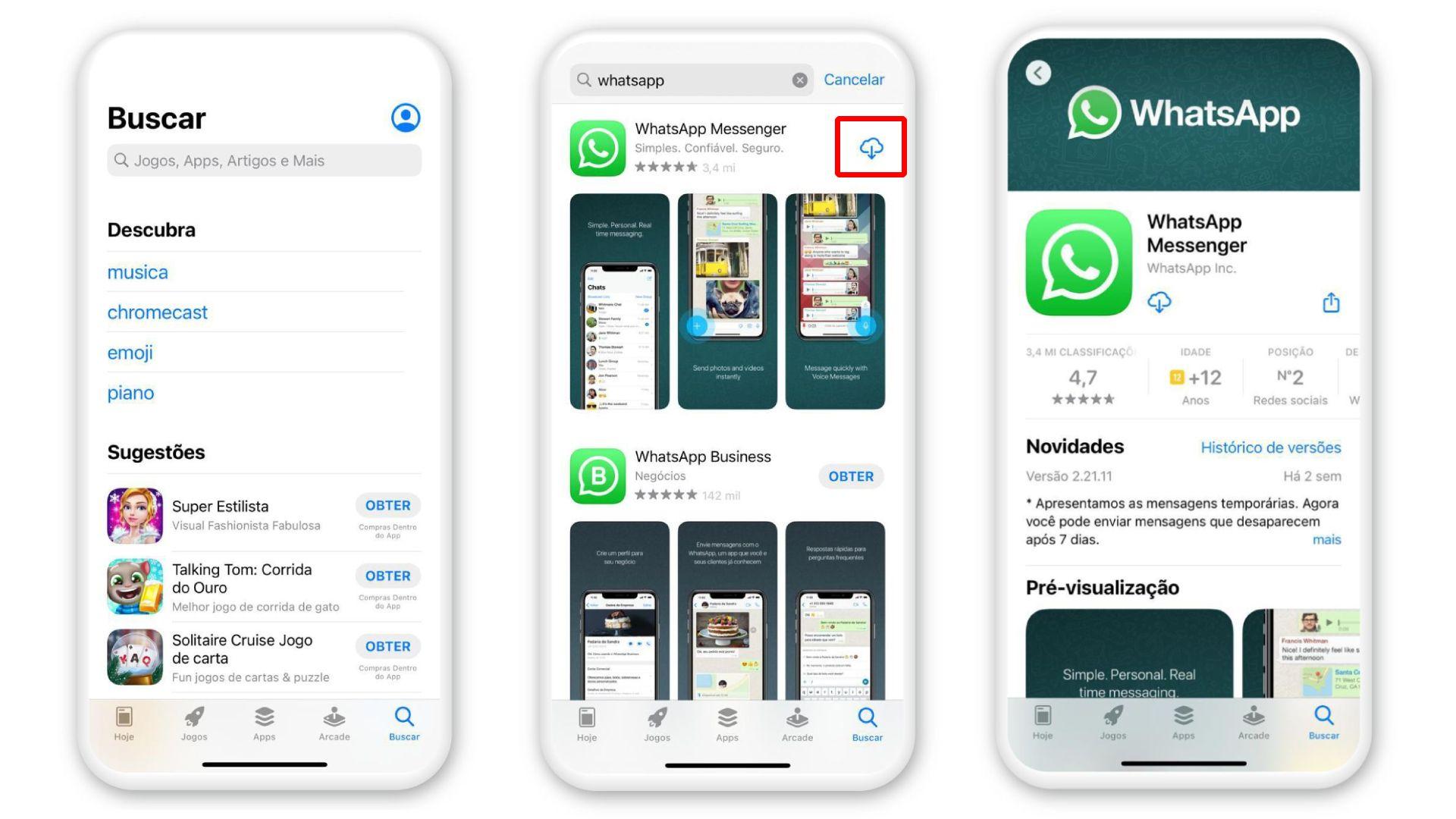 Como instalar o WhatsApp: faça download para iPhone na App Store (Foto: Arte/Zoom)