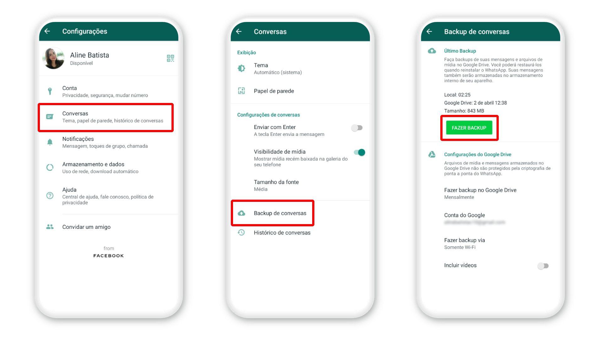 Como recuperar mensagens apagadas do WhatsApp: procedimento para fazer backup no Android (Foto: Reprodução/Zoom)