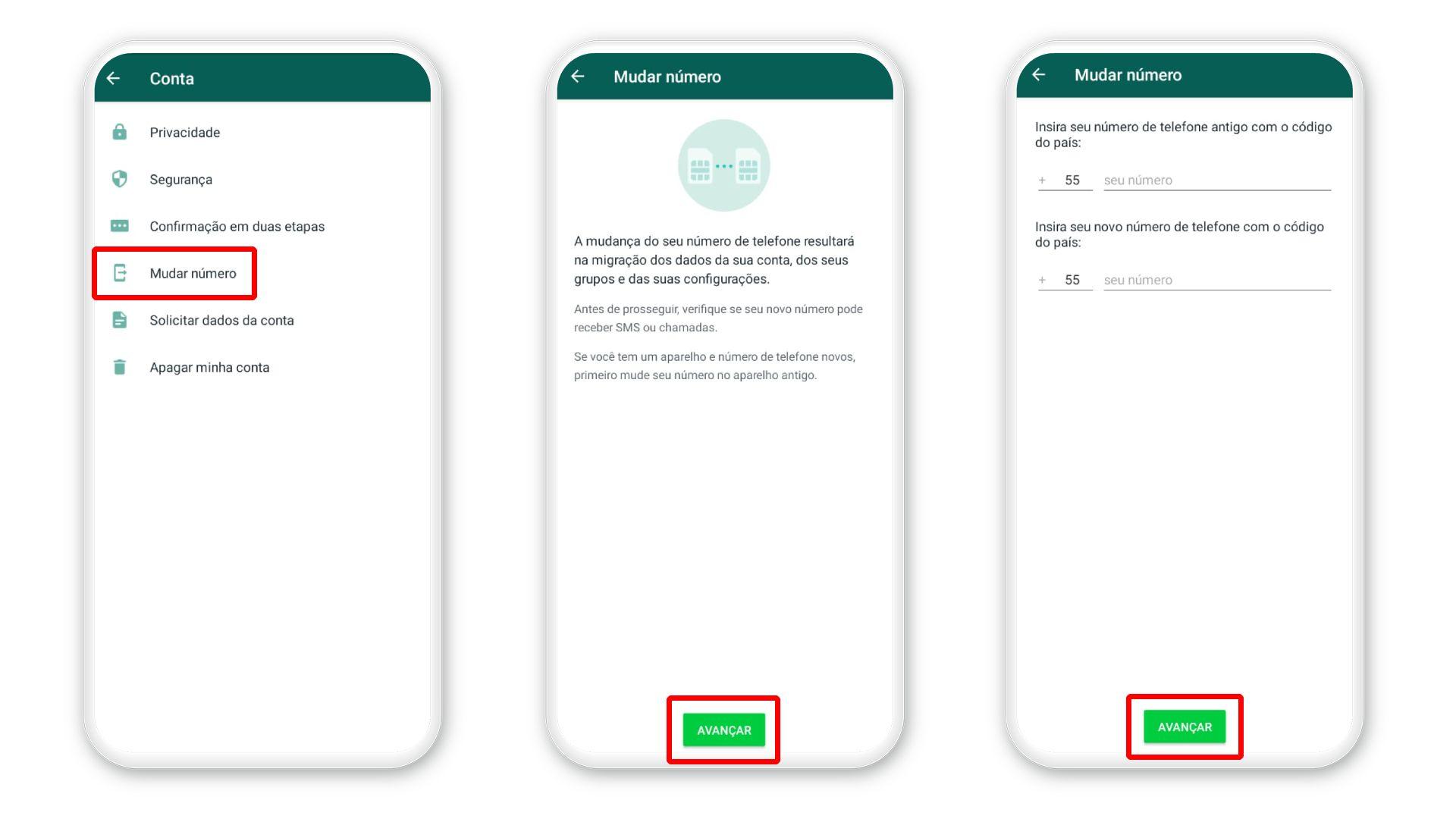 Como recuperar mensagens apagadas do WhatsApp: ação para mudar de número no app (Foto: Reprodução/Zoom)