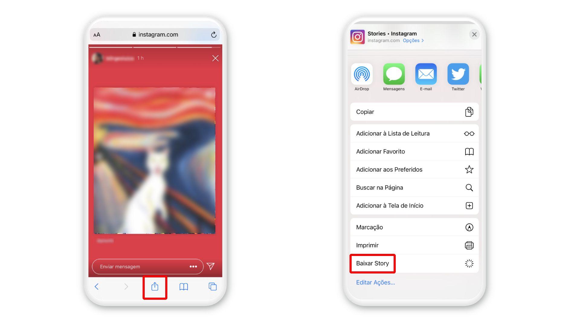 Como salvar Stories do Instagram no iPhone: opção para baixar foto (Foto: Arte/Zoom)