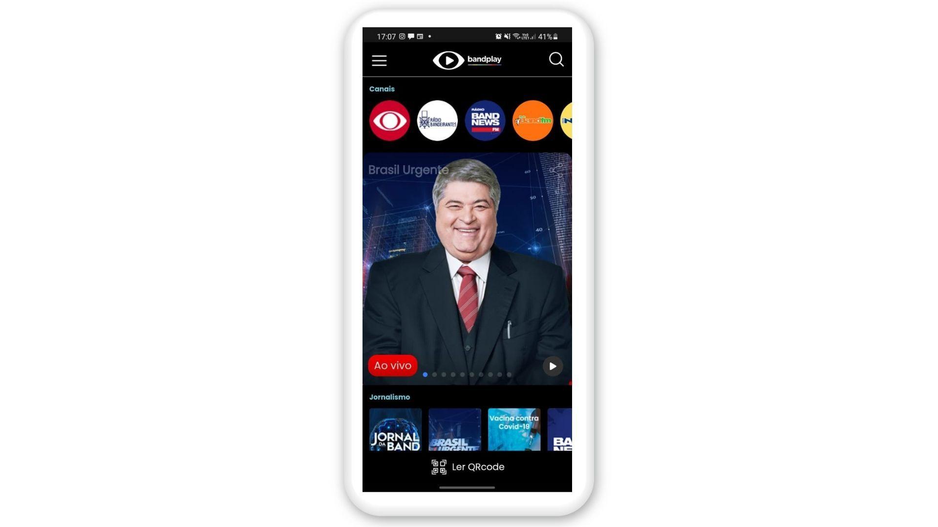 Print de tela do Bandplay, um aplicativo para assistir TV no celular