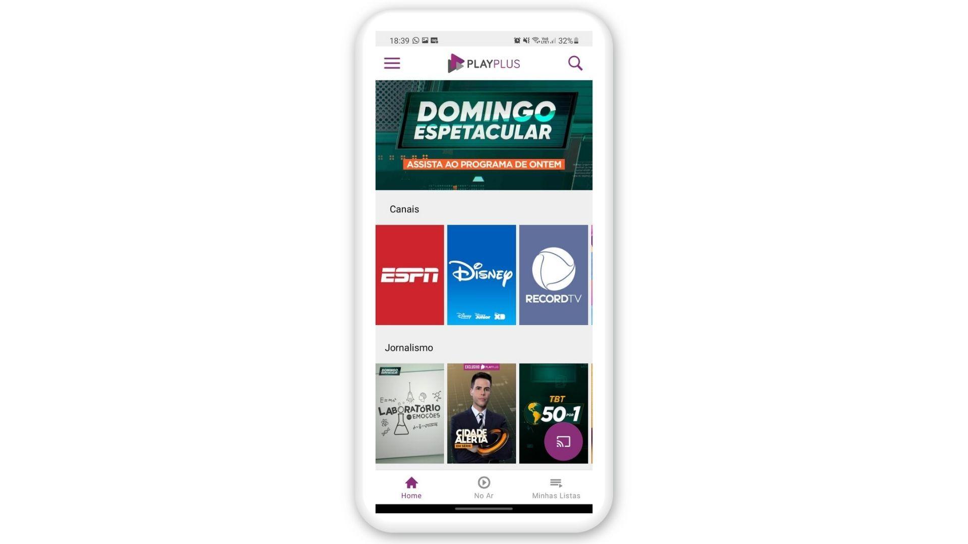 Print de tela do PlayPlus, um aplicativo para assistir TV no celular