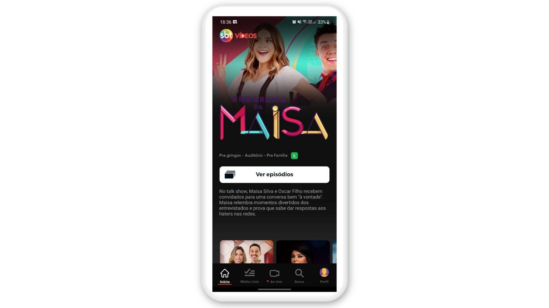 Print de tela do SBT Vídeo, um aplicativo para assistir TV no celular
