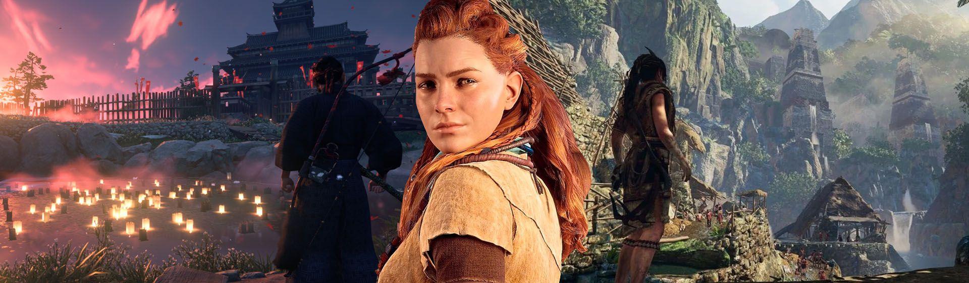 Capa mostra o personagem principal de Ghost of Tsushima, Alloy de Horizon Forbidden West e Lara Croft